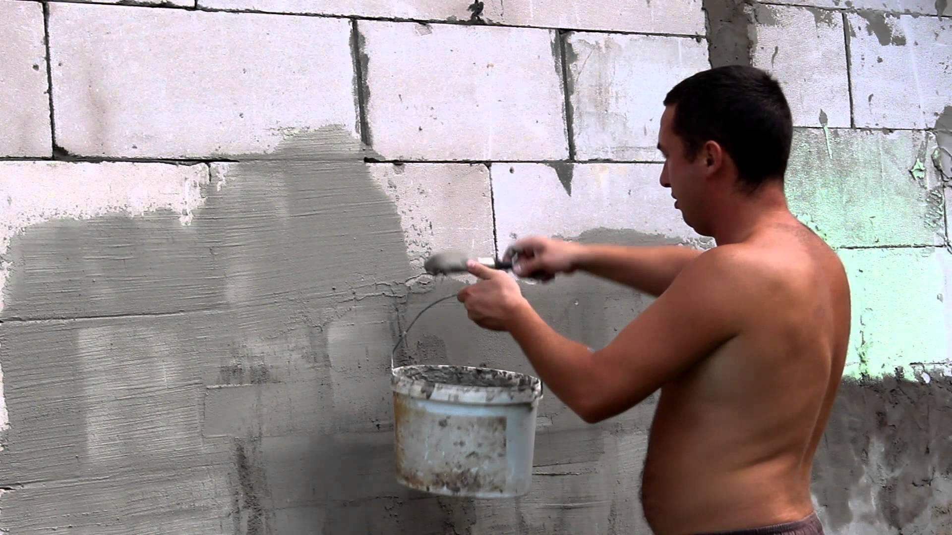 Штукатурка стен из газоблока своими руками 42